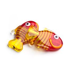 Glass Lampwork Bead, Fish, Red with Lemon Tale, 1 pc