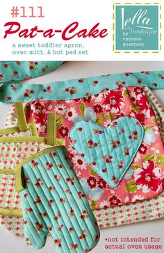 toddler apron and oven mitts pattern