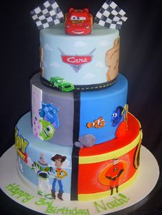 Can't decide which Pixar movie you like best? Celebrate all of them with this Pixar cake. | Disney Cakes | Disney Cake Ideas | Toy Story Cake | Monsters Inc. Cake | Finding Nemo Cake | The Incredibles Cake | Cars Cake |