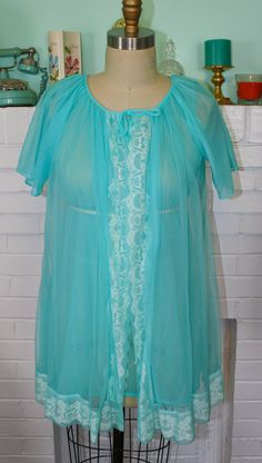 Vintage 60s Turquoise Teal Blue Peignoir Set by PsychedelicPinup, $35.00