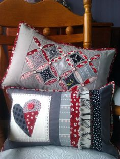 Cathedral window Quilted Pillows. I like the grey here. Makes me think that a denim look might be fun and a lot more informal.