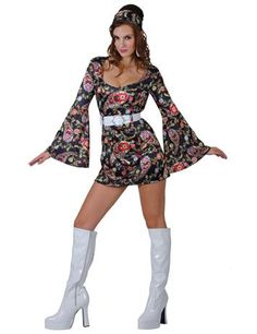 RETRO GO GO GIRL - A fantastic fancy dress costume for any themed party.  Look sexy in this short dress with fun flared sleeves. 6f052990040