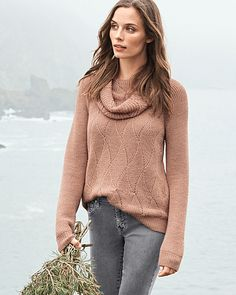 Alpaca Pointelle Cowl-Neck Sweater - love the color and texture of this sweater