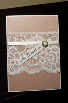 Pink and Ivory Vintage Lace Wedding Invitation