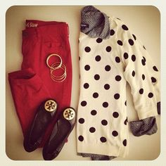 Polka dots and red skinnies