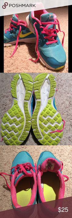 """HOST PICK 🎉 Girls Sneaker 👟 Bright colors and good Nike brand will help this girl run fast in these sneakers! My daughter wore about 4x before school said TOO BRIGHT. Great condition. Called the """"Downshifter 6"""" Nike Shoes Sneakers"""