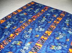 Motorcycle Theme Handmade Lap Quilt Nap Quilt I by Bonbonsandmore
