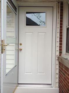 Perfect Smooth Star, Door Slab, Prefinished In Glacier White, Bright Brass Hardware.