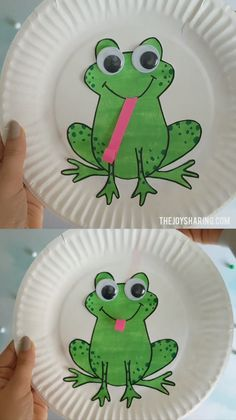 Get the FREE frog template to make this craft with preschool kids. Frog with moving tongue makes it fun for kids to make and play with. via crafts for grandparents Paper Plate Frog Toilet Paper Roll Crafts, Paper Plate Crafts, Paper Plates, Paper Plate Fish, Paper Plate Animals, Classroom Crafts, Preschool Crafts, Easter Crafts, Preschool Curriculum