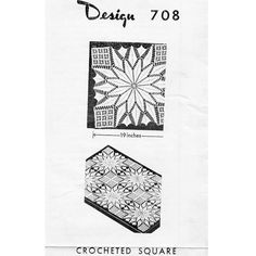 This star medallion crochet pattern makes a doily that will measure 19 inches.   Create multiple square and join for scarves, cloths and bedspreads.     This is vintage 1960s Design 708, a Laura Wheeler Mail Order Pattern
