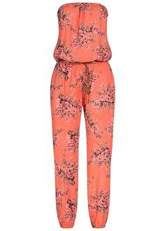 Styleboom Fashion Damen Bandeau Jumpsuit 2 Taschen Blumen Bindegürtel coral or…