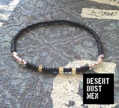 Citrine mens bracelet with black and champagne beige seed beads by DESERTDUSTMEN on Etsy