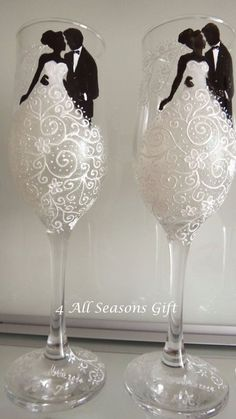 Wedding Champagne Glasses Hand Painted Glasses Anniversary Glasses Personalized Wedding Gift Bride & Groom Glasses Lace wedding dress by on Etsy Bride And Groom Glasses, Wedding Wine Glasses, Wedding Gifts For Bride And Groom, Wedding Champagne Flutes, Bride Gifts, Champagne Glasses, Bride Groom, Wedding Bridesmaids, Wedding Bottles