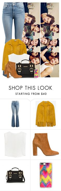 """""""7.3.8 - One Direction & Olly Murs"""" by zarina-fashion ❤ liked on Polyvore featuring Frame, Zara, MANGO, Gianvito Rossi, River Island, Casetify, casual, yellow, denim and suede"""