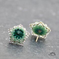 Earrings, made of Swarovski rivoli and toho seed beads.
