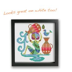 Aquarius  zodiac sign  Satsuma Street modern cross stitch