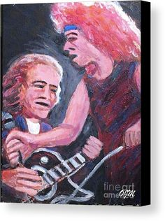 Portrait Canvas Print featuring the painting Mick Jones And Lou Gramm Jukebox Hero by Owen McCafferty