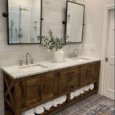 Bathroom Vanity-Single Vanity-or-Double Vanity Custom Replica   Etsy Bathroom Interior Design, Home Interior, Interior Ideas, Restauration Hardware, Bathroom Renos, Master Bathrooms, Bathroom Mirrors, Master Bathroom Vanity, Rustic Bathroom Vanities
