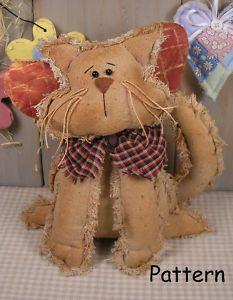 Free Primitive Sewing Patterns | PATTERN-Primitive-Raggedy-Angel-Kitty-Cat-Folk-Art-Doll-Sewing-Cloth ...