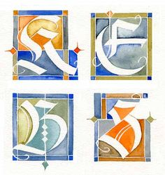 16-02-15 Decorative Capitals72 Calligraphy Types, Calligraphy Letters, Typography Letters, Modern Calligraphy, Creative Lettering, Lettering Design, Illuminated Letters, Illuminated Manuscript, Beautiful Lettering