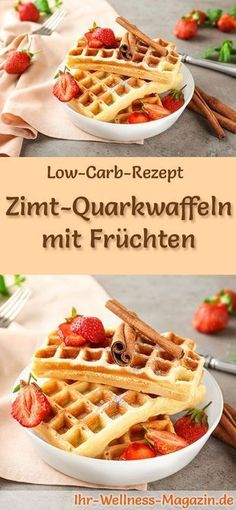 Low carb cinnamon quark waffles with fruits - healthy recipe for breakfast - Lo. - Low carb cinnamon quark waffles with fruits – healthy recipe for breakfast – Low-carb recipe f - Low Carb Desserts, Low Carb Recipes, Healthy Recipes, Fish Recipes, Breakfast Low Carb, Breakfast Recipes, Desayuno Paleo, Cinnamon Recipes, Healthy Fruits