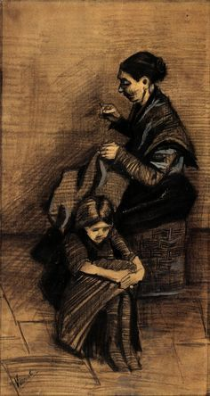 Vincent Van Gogh, Woman Sewing, with a Girl, 1883*. art, artwork, paintings