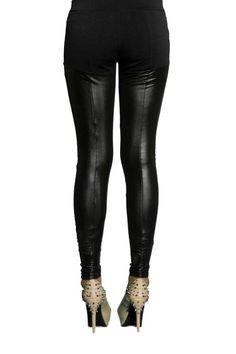 Black leather look leggings, $19.99