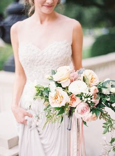 Bride to Be Reading ~ Blush rose wedding bouquets. Wow! This is beautiful.