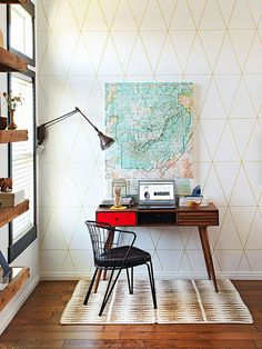 This chic work zone is perfectly paired with a fun desk and unique vintage map! Continue on with the house tour here: http://www.bhg.com/decorating/decorating-style/flea-market/house-tour--fresh-retro-style/?socsrc=bhgpin110614huntedanddiyed&page=2
