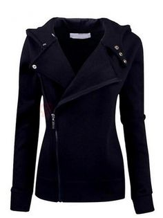 BuyTrends.com Offers Cheap Charming Hooded Full Sleeve Diagonal Zipper Slim Women Casual Hoodies [CU17904217] with High Quality and Wholesale price US$32.99