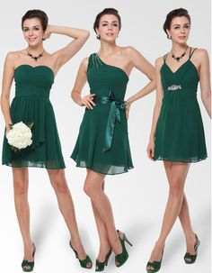 Affordable Custom Sexy A-Line Short Chiffon Bridesmaid Dresses