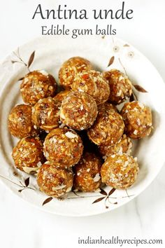 Antina unde are edible gum balls that are nutritious. These are great for women recovering from childbirth. Veg Recipes, Sweets Recipes, Indian Food Recipes, Cooking Recipes, Cooking Tips, Easy Recipes, Recipies, Indian Desserts, Indian Sweets