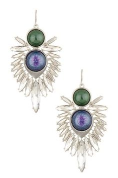 Sam Edelman Feathered Stone Cluster Drop Earrings