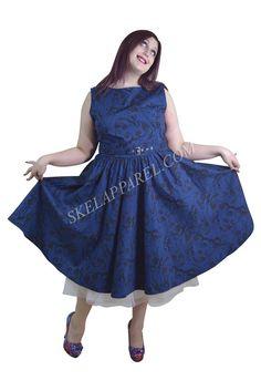 Plus Vinatge Victorian Swirl Dark Blue Boat Neck Flare Party Dress