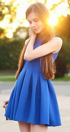 blue skater dress