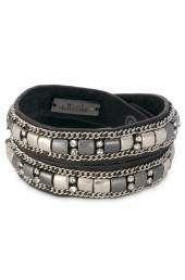 Crystal & Bead Bracelet, Silver & Gold   Cady Wrap Bracelet
