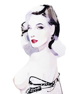 Dita Von Teese, London 2011 - David Downton  The delicate use of watercolours by layering it creates a beautiful portrait. Muted colours are accented with darker tones to bring out the drawing.