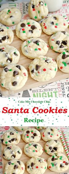 christmas snacks Get Ready to Make Santa Mix Chocolate Chip Cookies - Very Best of Christmas Xmas Cookies, Yummy Cookies, Santa Cookies, Cake Cookies, Easy Christmas Cookies, Christmas Chocolate Chip Cookies, Santa Cookie Recipe, Cake Mix Chocolate Chip Cookie Recipe, Christmas Cupcakes