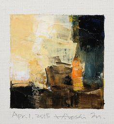 April 1, 2015 - origineel Abstract olieverfschilderij - 9 x 9 schilderen (9 x 9 cm - app. 4 x 4 inch) met 8 x 10 inch mat