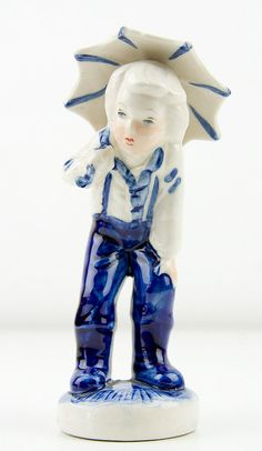 Vintage  Delft Blue Figurine  Boy with by CrystalBlueVintage, $5.00