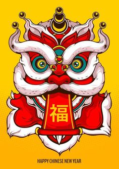 Lion Dance Head, Happy Chinese New Year, Illustration Comic  Style.