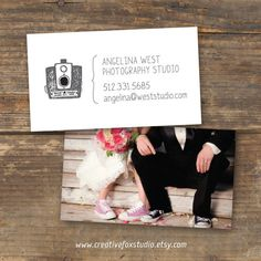 Photography Business Card - Vintage Glam - Digital Download - Double Sided with Photo by CreativeFox Studio @ etsy.com