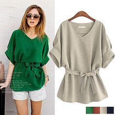 Plus Size Women Clothing Chemise Casual Summer Womens Bow Blouse Sashes Tops Blusas Cheap Blouses, Blouses For Women, Ladies Blouses, Pencil Skirt Casual, Pencil Skirts, Linen Tunic, Cotton Linen, Linen Fabric, Cotton Fabric