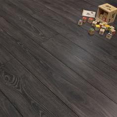 Premier Elite Black Smoked Oak 8mm Laminate Flooring V-Groove AC4 £11.09 per m2