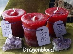Here we have crystal journeys candles. 3 dragons blood set we carry others scents. $11.50 + Free shipping - usa