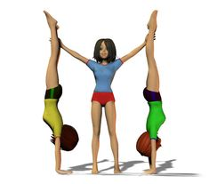 3 Person Yoga Poses, Entertaining, 3d, School, Disney, Fitness, Sports, Stunts, Gymnastics Floor Routine