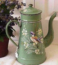 ANTIQUE/VINTAGE FRENCH ENAMELWARE COFFEE POT/BIGGIN/CAFETIERE CA 1920