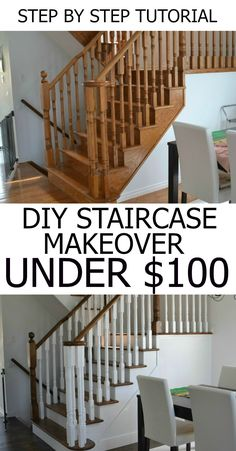 DIY Staircase Makeover   How to stain stairs   Step by step tutorial   before and after   how to stain a railing