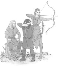 Kili and Tauriel practicing archery (by Pabuttego)