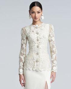 Long-Sleeve Floral-Embroidered Lace Jacket by Oscar de la Renta $3890